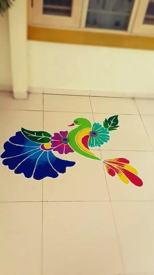 2 Bird Freehand Rangoli Design Image