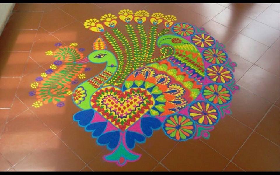 peacock kolam design