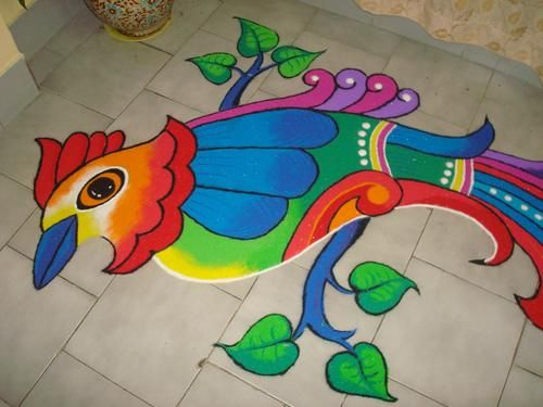 freehand peacock rangoli designs