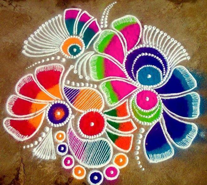 5 flower freehand rangoli design image for Home rangoli designs