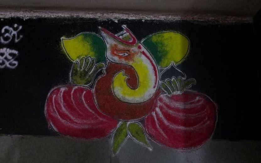 portrait ganesh rangoli design