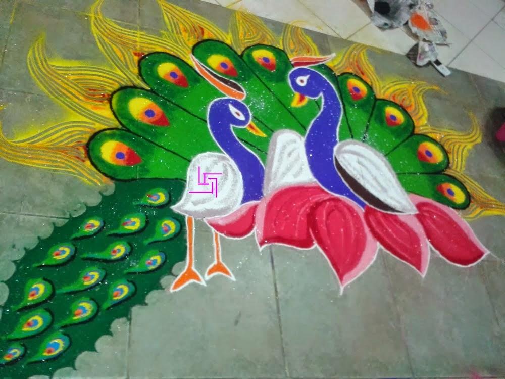 peacock freehand rangoli design