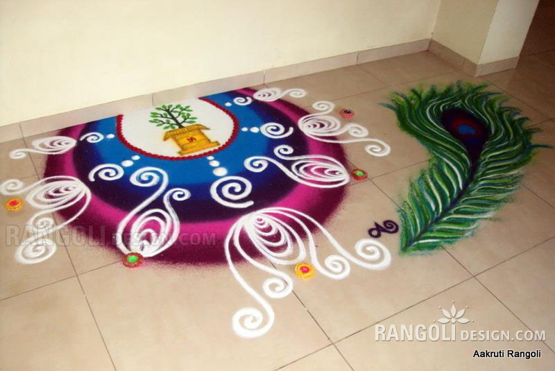 peacock rangoli design