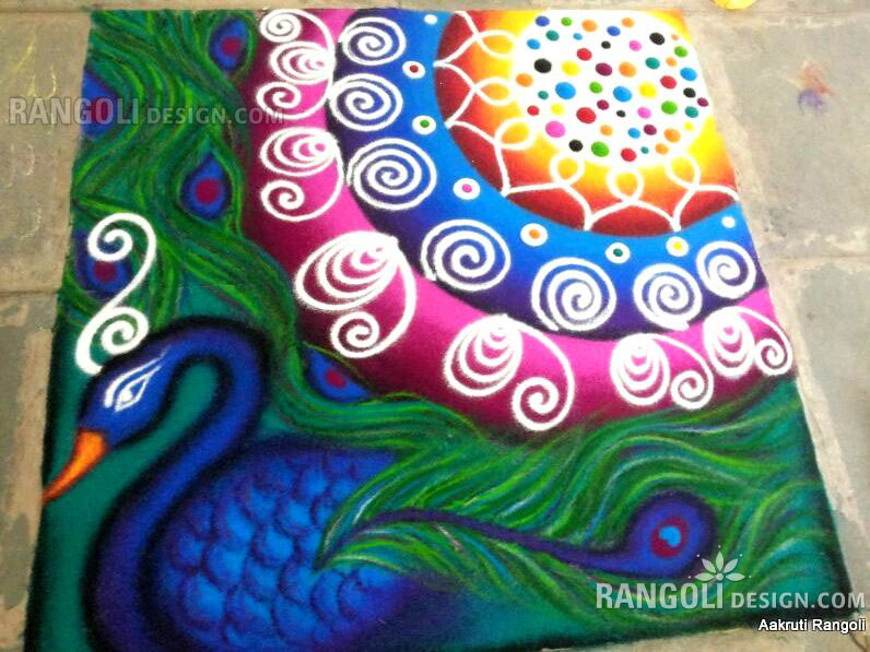 peacock rangoli design by aakruti