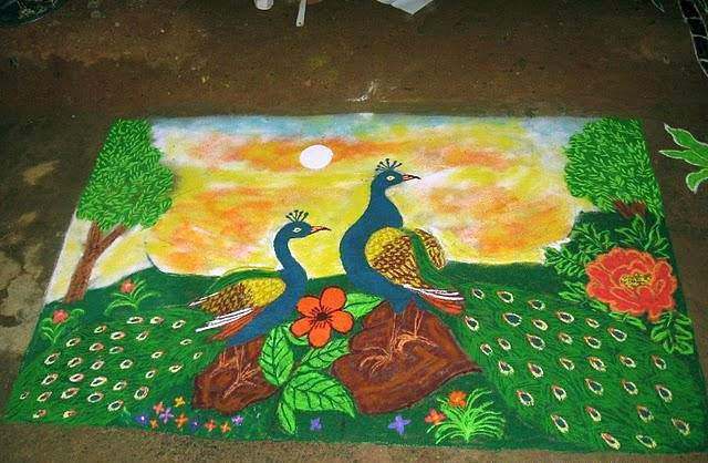 peacock rangoli design -  2