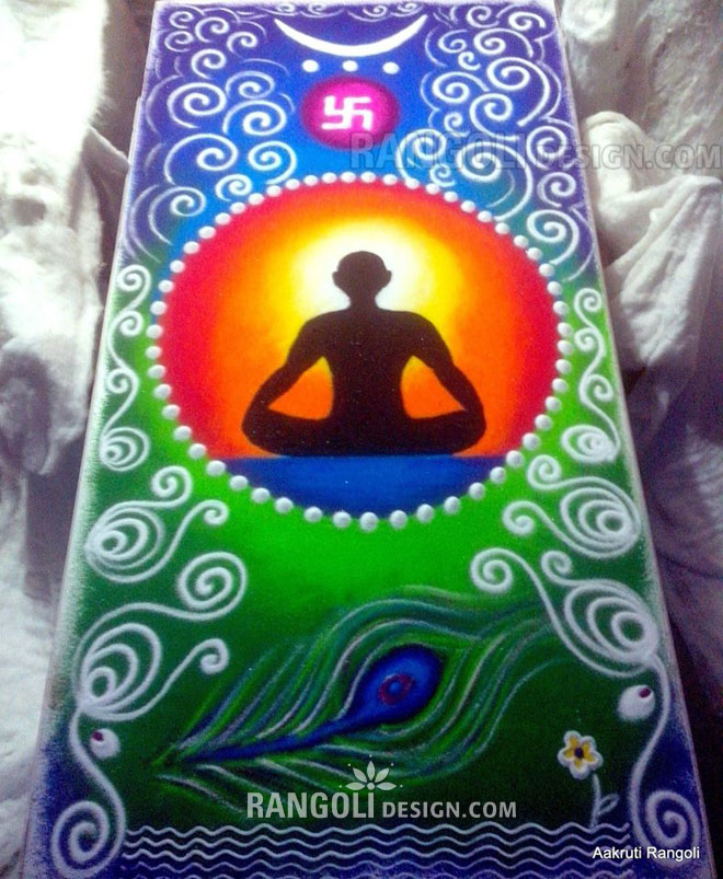 yoga rangoli design by aakruti