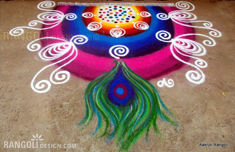 peacock rangoli design by aakruti -  36