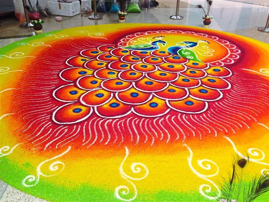 peacock rangoli design