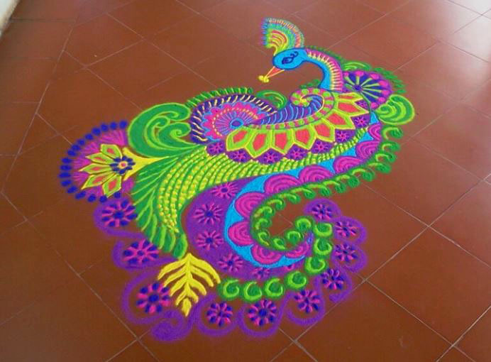 freehand peacock rangoli design