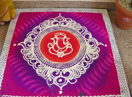 ganesh freehand rangoli design