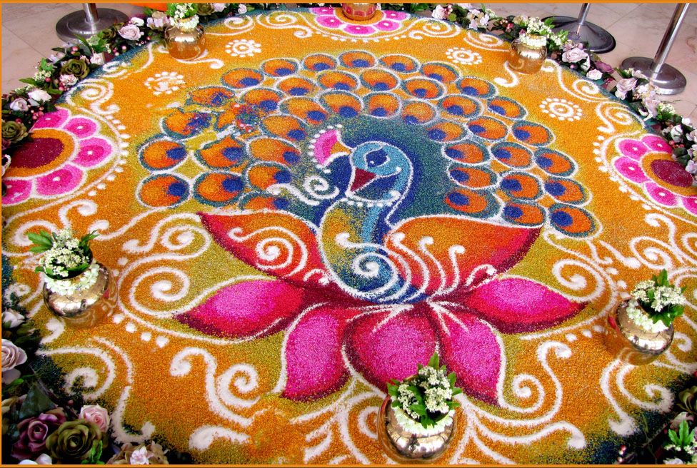 peacock rangoli design -  8