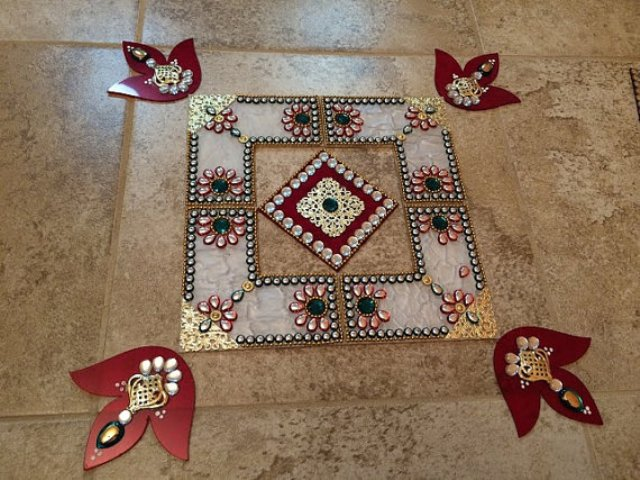 simple acrylic rangoli design