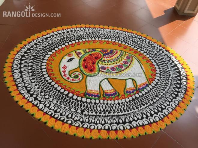 rangoli design elephant