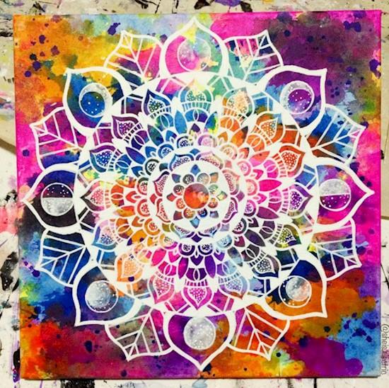 12 acrylic rangoli design by michelle pugle