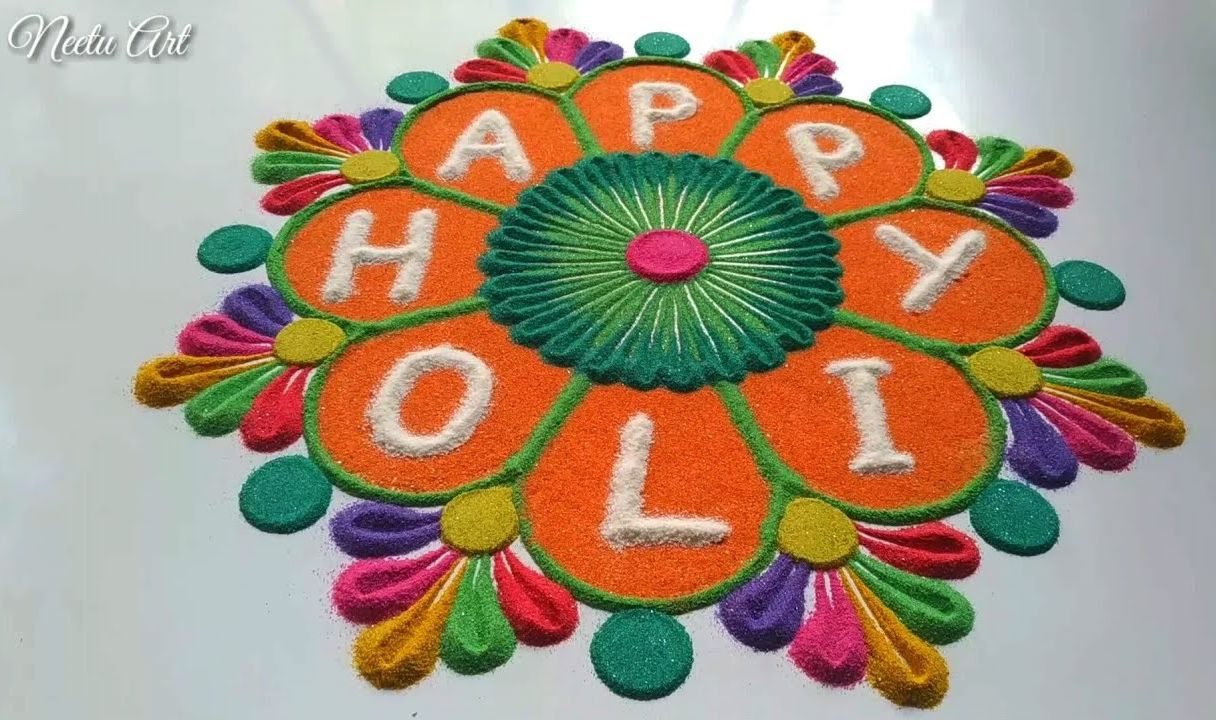 happy holi rangoli design