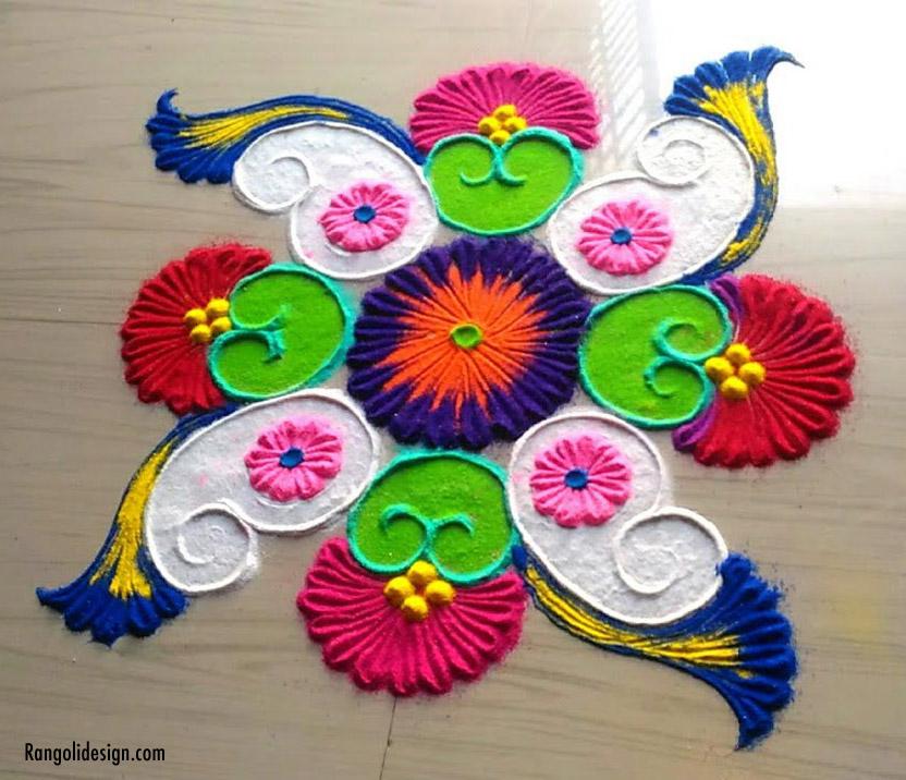 peacock rangoli design holi