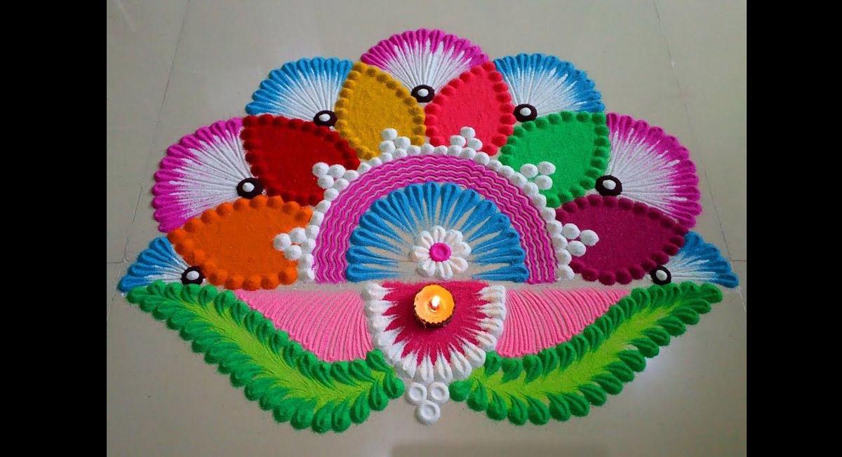 lotus shaped rangoli design holi festival