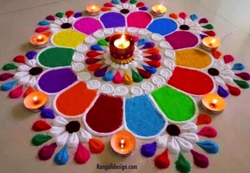 colourful rangoli design holi