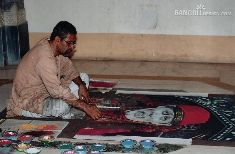 making saibaba portrait rangoli designs by abhay gadkari