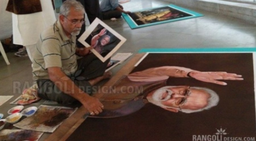 making modi portrait rangoli designs by abhay gadkari