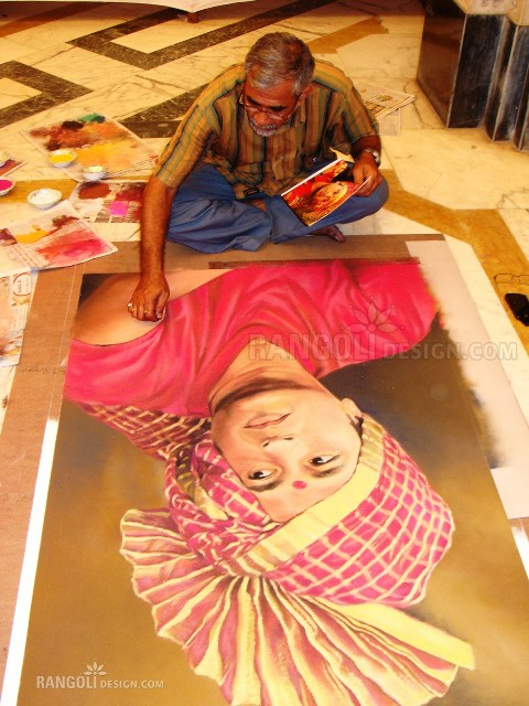 making sachin portrait rangoli designs by abhay gadkari