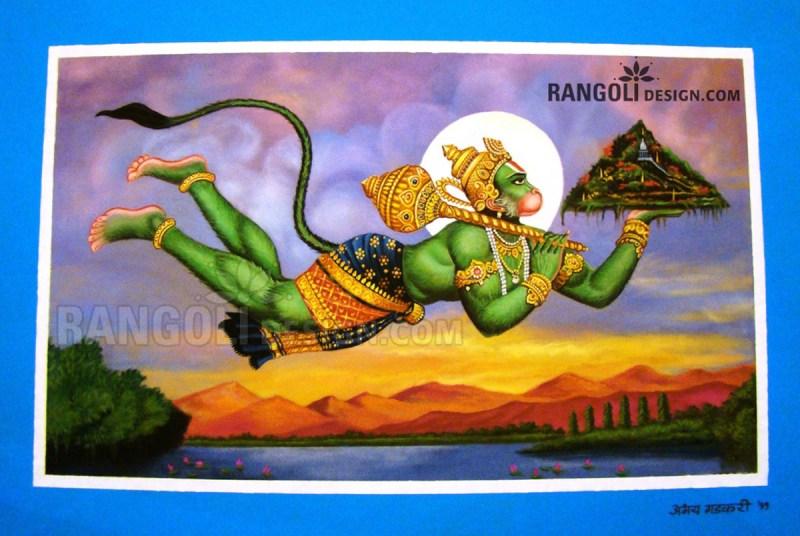 hanuma portrait rangoli designs by abhay gadkari