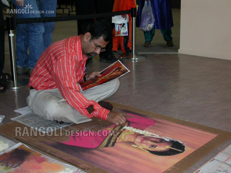 making traditional portrait rangoli designs by abhay gadkari