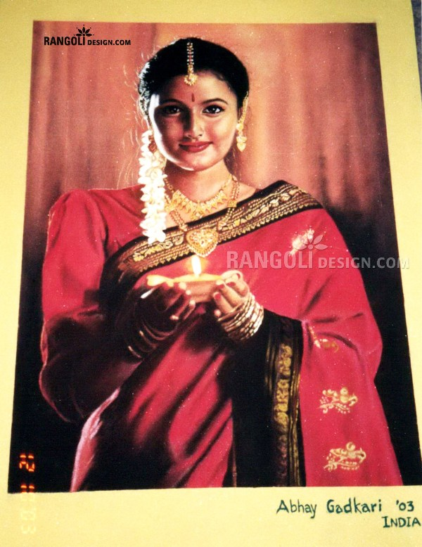 traditional portrait rangoli designs by abhay gadkari