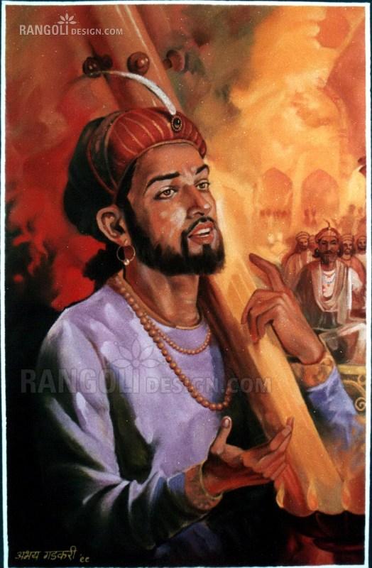 singer portrait rangoli design by abhay gadkari