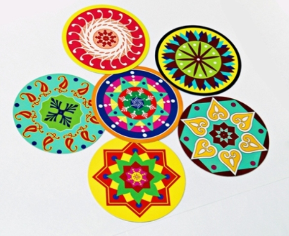 2 coasters rangoli designs by sakshi taplu