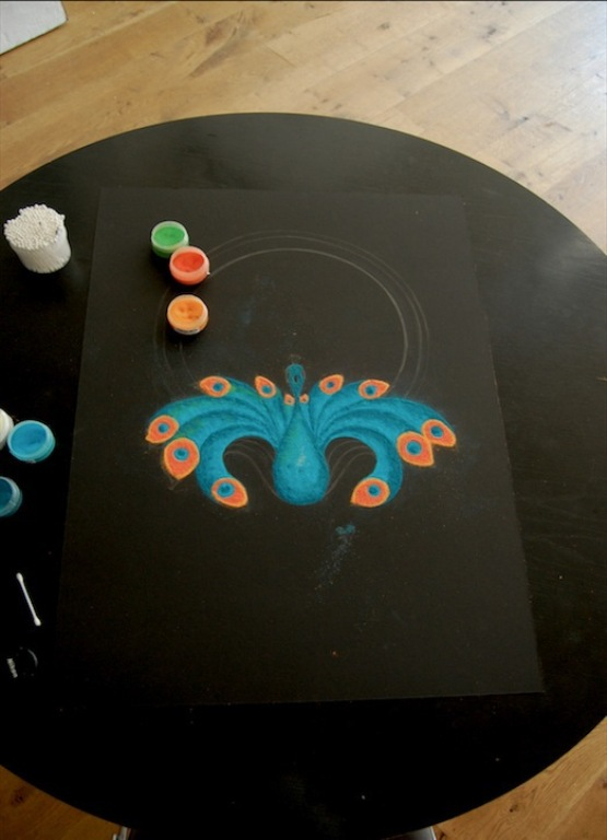 sand painting rangoli design by humna mustafa