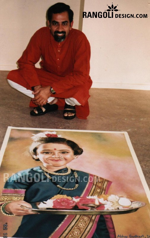 making kid portrait rangoli design by abhay gadkari