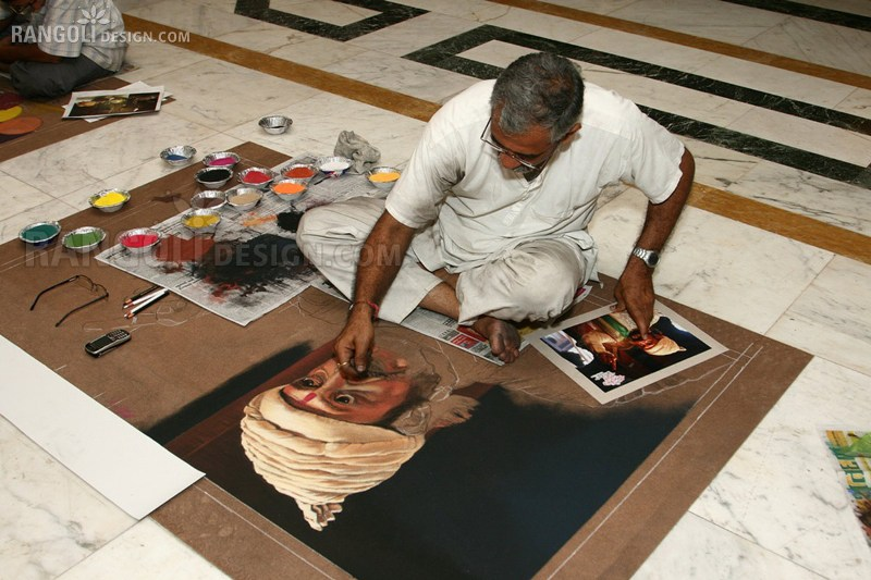 making chatrapathi sivaji portrait rangoli designs by abhay gadkari