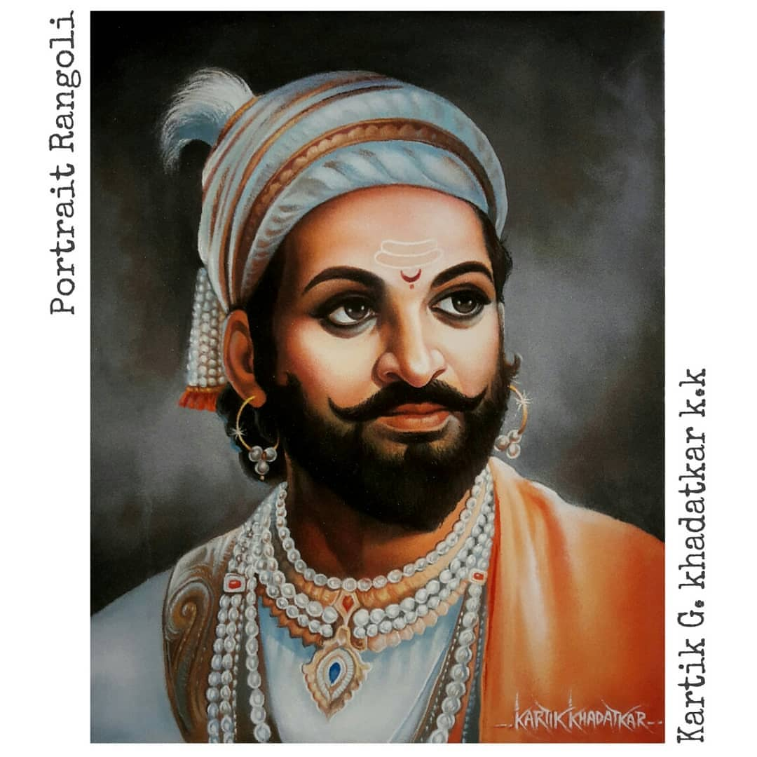 portrait rangoli art painting king kartik khadatkar
