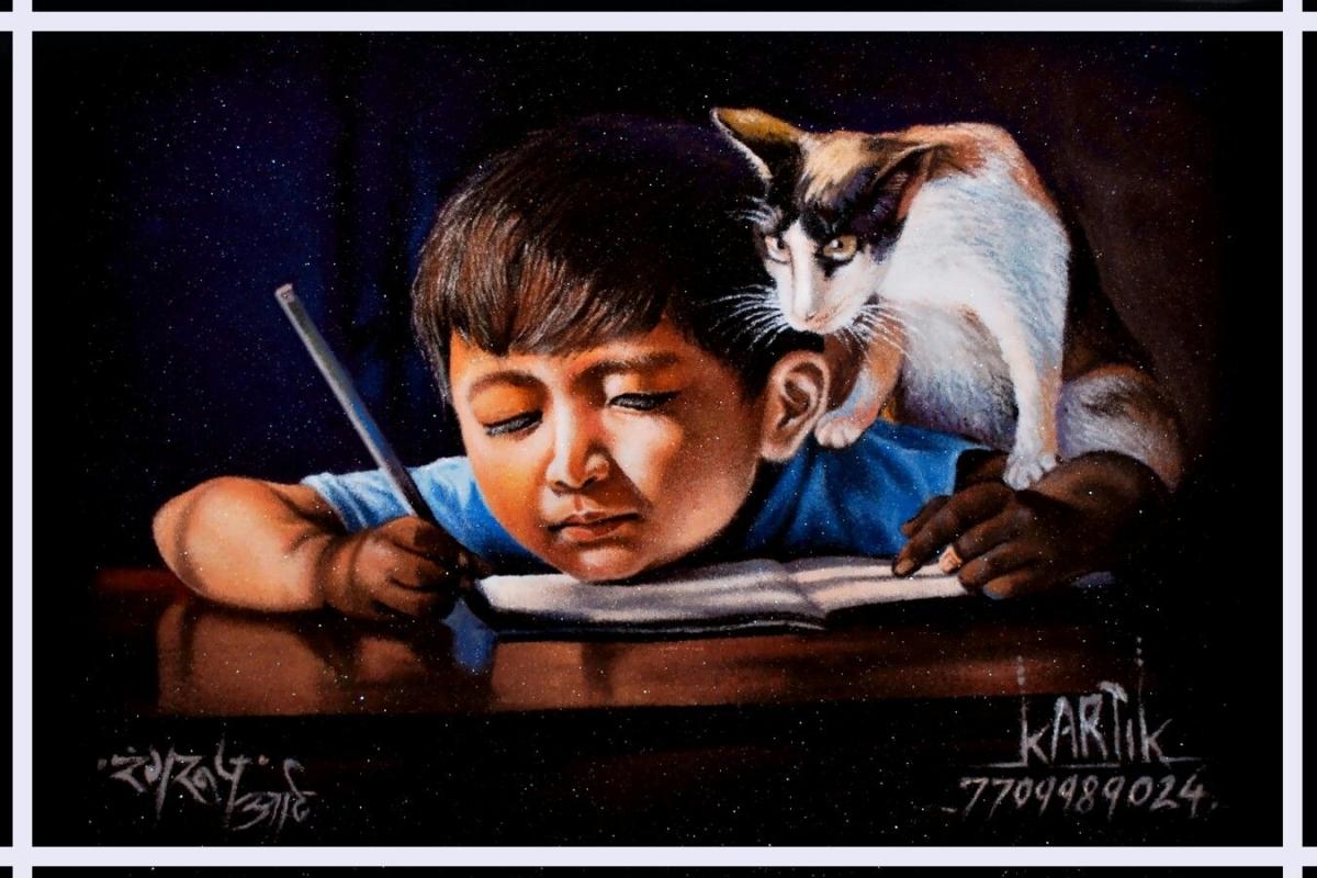 portrait rangoli art painting kid kartik khadatkar