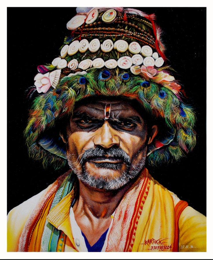 portrait rangoli art paintin man kartik khadatkar