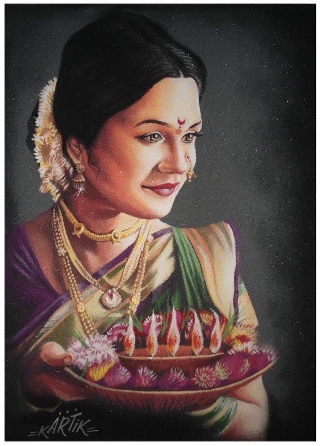 portrait rangoli art painting woman kartik khadatkar
