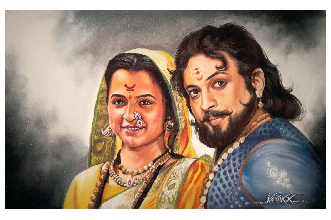 portrait rangoli art painting woman man kartik khadatkar