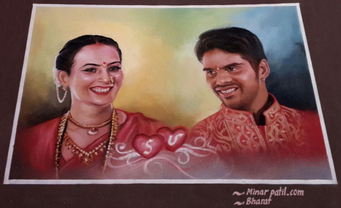 portrait rangoli art wedding minar patil