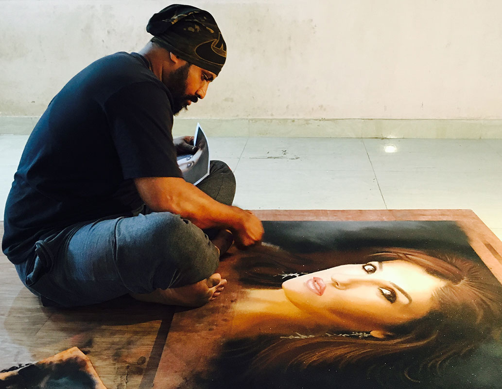 9 portrait rangoli art raveena tandon minar patil