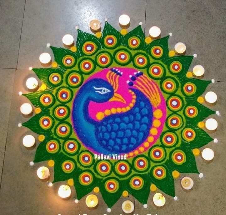 rangoli design peacock pallavi vinod
