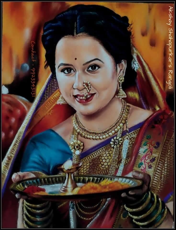 1 rangoli design portrait lady akshay shahapurkar