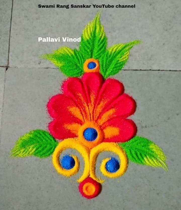 rangoli design pink flower pallavi vinod