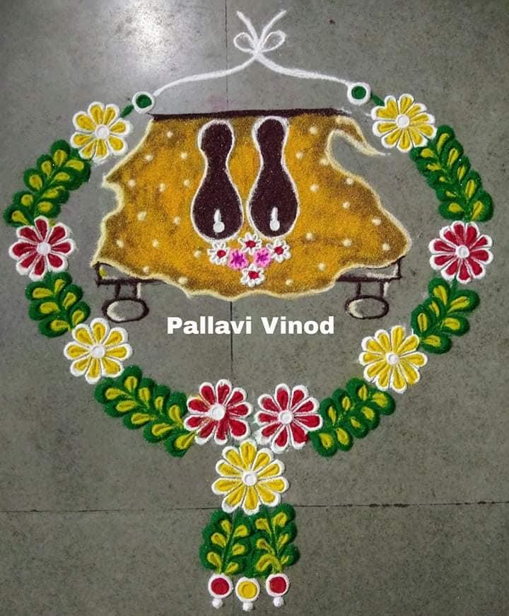 rangoli design garland pallavi vinod