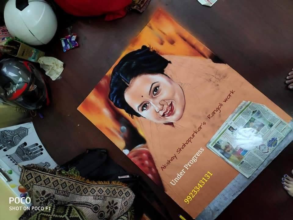 rangoli design portrait akshay shahapurkar