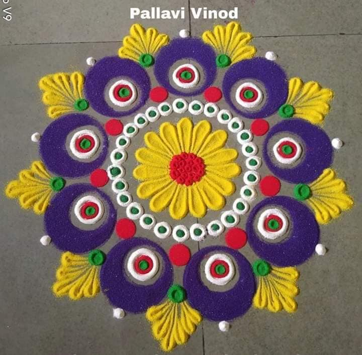 2 rangoli design purple flower pallavi vinod