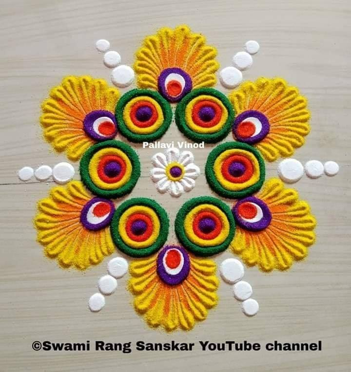 rangoli design colorful flower pallavi vinod
