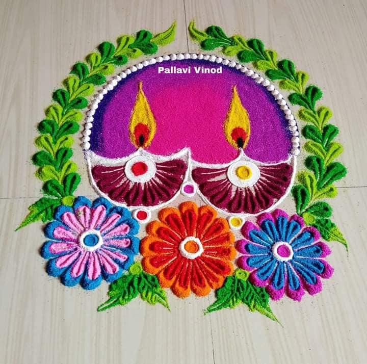 rangoli design purple diyas pallavi vinod