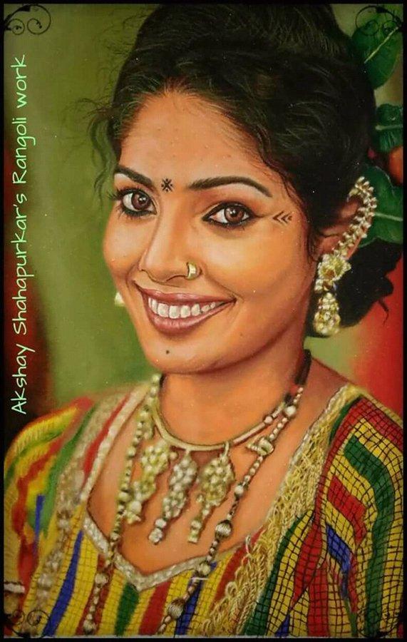 rangoli design portrait lady akshay shahapurkar