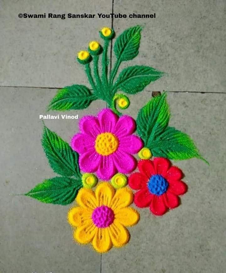 rangoli design flowers pallavi vinod